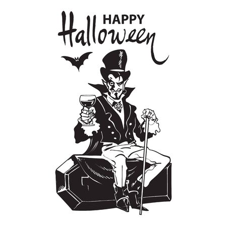 Happy Halloween lettering. Count Dracula sitting on the coffin. Halloween cartoon vampire character. Black and white hand drawn vector illustration. Иллюстрация