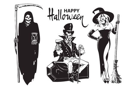 Halloween cartoon characters Death with scythe and hourglass Grim Reaper, Count Dracula vampire, beautiful sexy witch holding broomstick. Happy halloween lettering. Иллюстрация