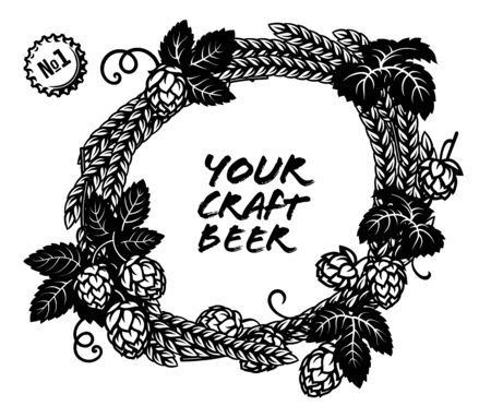 Round wreath made from hop cones and ears of barley. Space for text. Elements for brewery design, beer production, pub, bar decoration. Hand drawn illustration on light background.