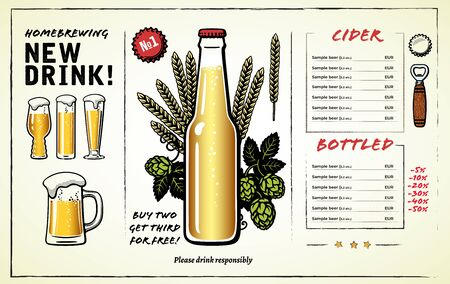 Beer menu design with a bottle of beer in center, alcohol card design elements, glasses, mug, hop branches and ears of barley or wheat. Hand drawn illustration on light background. Фото со стока