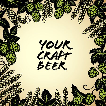 Hop cones with ears of barley or wheat background. Space for text. Elements for brewery design, beer production, pub and bar decoration. Hand drawn frame on light background.