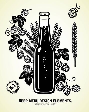 Bottle of light beer with hop branches and ears of barley or wheat. Brewery, beer festival, bar, pub design elements. Hand drawn illustration. Фото со стока
