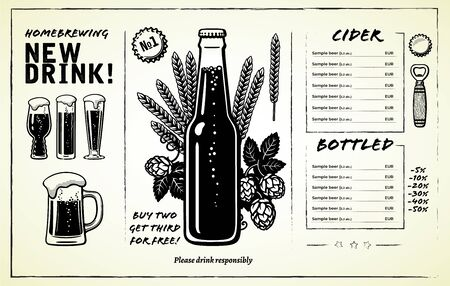 Beer menu design with a bottle of beer in center, alcohol card design elements, glasses, mug, hop branches and ears of barley or wheat. Hand drawn illustration on white background.