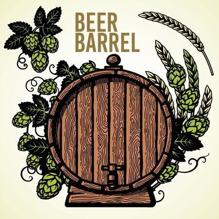 Old wooden barrel of beer with hop branches and ears of barley or wheat. Hand drawn set of elements on white background.
