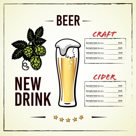 Beer menu design with glass of beer and branch of hops with leaves and cones. Alcohol card design elements. Hand drawn illustration on light backgraund. Фото со стока