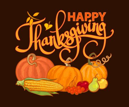 Happy Thanksgiving calligraphy and cartoon Thanksgiving autumn food pumpkins, corn, barres, pears and apples. Harvest festival greeting card. Vector illustration isolated on black background. 写真素材 - 131503167