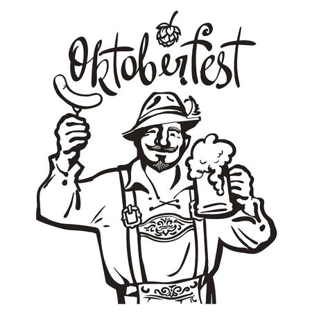 Oktoberfest lettering above cheerful Bavarian man with beer mug and sausage. Oktoberfest beer emblem. Hand drawn vintage vector illustration. Иллюстрация