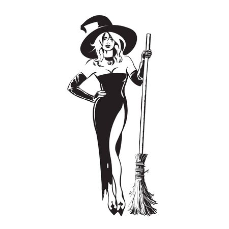 Halloween beautiful sexy witch holding broomstick in sketch style. Pretty young woman in witches hat and black dress with magic broom. Hand drawn vector illustration. Vettoriali