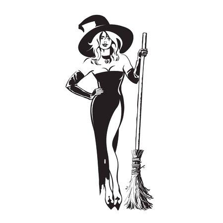 Halloween piękna wiedźma trzymając miotłę w stylu szkicu. Dość młoda kobieta w kapeluszu wiedźmy i czarnej sukni z magiczną miotłą. Ręcznie rysowane ilustracji wektorowych.