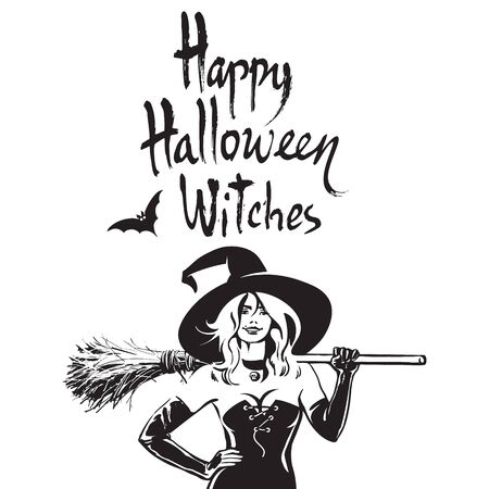 Beautiful sexy witch holding broomstick. Happy Halloween witches, funny Halloween phrase. Hand drawn brush lettering. Vettoriali