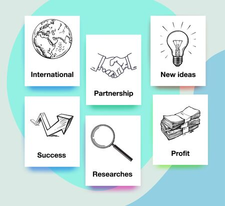 Set of business objects. Planet Earth, handshake, light bulb, arrow up, magnifying glass and stack of money. Vector templates. Иллюстрация