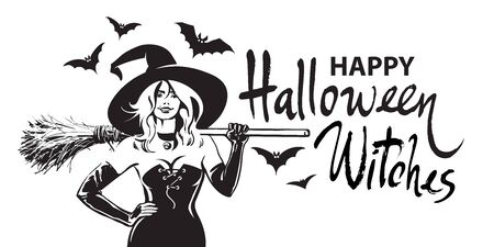 Happy halloween witches comic hand drawn lettering, beautiful sexy witch holding broomstick surrounded by bats. Sketch style design for holiday greeting card, flyer, poster, invitation, banner.