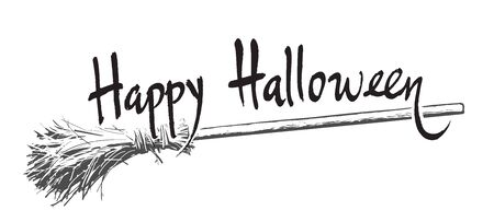 Happy halloween hand drawn lettering and old magic broomstick. Vector illustration isolated on white background. Sketch style design for holiday greeting card, flyer, poster, invitation, banner. 写真素材 - 131608470