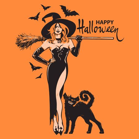 Happy halloween hand drawn text, beautiful sexy witch holding broomstick with black cat and bats isolated on orange. Vector design for holiday greeting card, invitations, flyers, posters, banners.