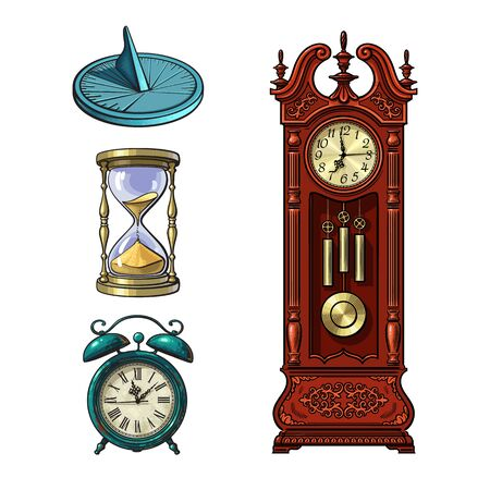 Set of old clocks. Sundial, Hourglass, Alarm clock Antique grandfather pendulum clock. Vector illustration. Stockfoto - 147627398