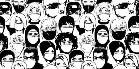 People wearing medical masks. Coronavirus quarantine concept. Air pollution protection. Vector illustration. Seamless pattern. Ilustración de vector
