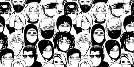 People wearing medical masks. Coronavirus quarantine concept. Air pollution protection. Vector illustration. Seamless pattern. Vecteurs