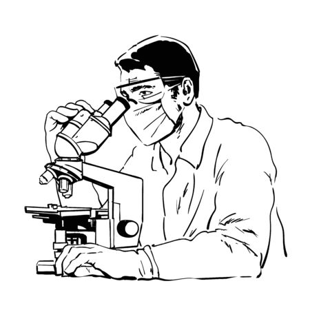 Scientist studying coronavirus.Doctor in protective glasses and mask looking through microscope. Sketch style hand drawn vector illustration.