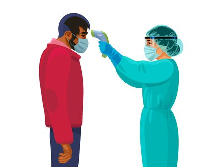 Body temperature check. Female medic holding infrared forehead thermometer before man. Vector illustration.