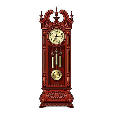 Antique grandfather pendulum clock. Vector illustration isolated on white background. Vector Illustratie