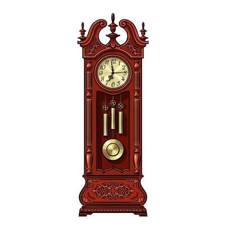 Antique grandfather pendulum clock. Vector illustration isolated on white background.