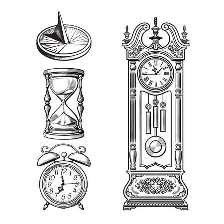 Set of old clocks. Sundial, Hourglass, Alarm clock Antique grandfather pendulum clock. Vector illustration. Stock Illustratie