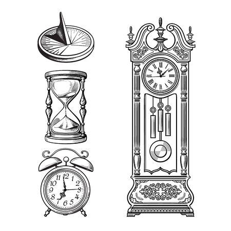 Set of old clocks. Sundial, Hourglass, Alarm clock Antique grandfather pendulum clock. Vector illustration. Stockfoto - 148362482