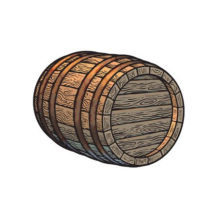 Old wooden barrel lying on its side. Beer, wine, rum whiskey barrel three quarters view in vintage engraving style. Hand drawn vector illustrations