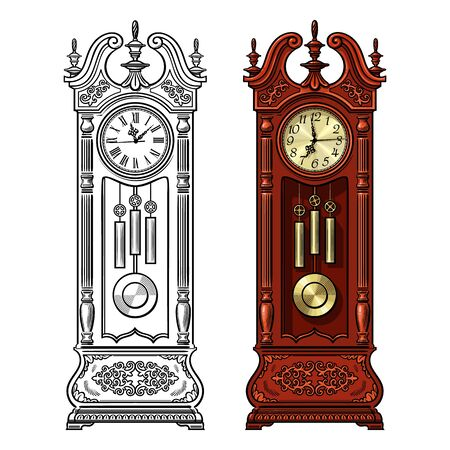 Antique grandfather pendulum clock. Traditional floor standing long case clock with wood carved decoration. Hand drawn black and white and colored detailed vector illustration. Stockfoto - 148664726