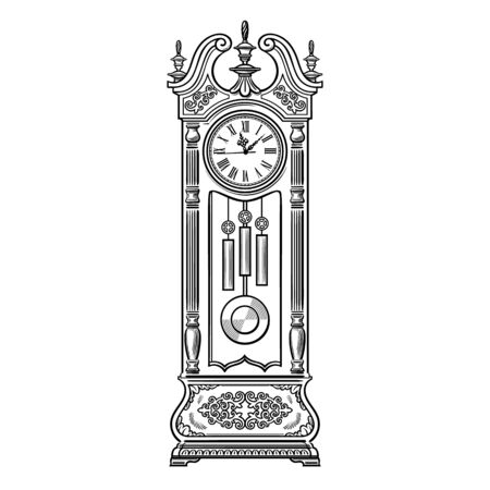 Antique grandfather pendulum clock. Traditional floor standing long case clock with wood carved decoration. Black and white hand drawn sketch style vector illustration isolated on white background. Stockfoto - 148664875