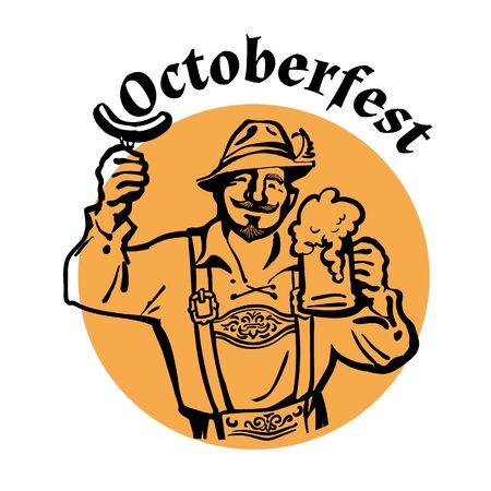 Oktoberfest text above heerful Bavarian man with beer mug and sausage. October fest beer emblem. Hand drawn vintage vector illustration.