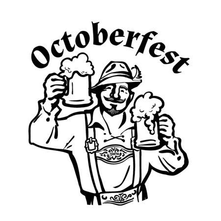 Oktoberfest text above heerful Bavarian man with two beer mugs. October fest beer emblem. Hand drawn vintage vector illustration.
