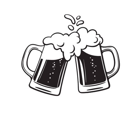 Two toasting beer mugs, Cheers. Clinking glass tankards full of beer and splashed foam. Black and white hand drawn vector illustration isolated on white background.