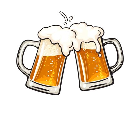 Two toasting beer mugs, Cheers. Clinking glass tankards full of beer and splashed foam. Vector illustration isolated on white background.