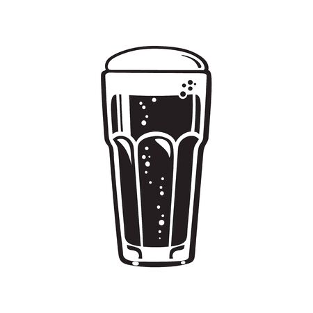 Tumbler beer glass. Hand drawn vector illustration isolated on white background. Çizim