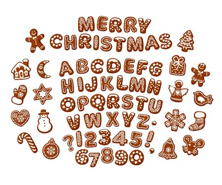 Merry Christmas text made of chocolate biscuits. Gingerbread alphabet, traditional holiday cookies on white background.
