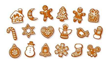 Big set of Christmas and New Year gingerbread cookies. Traditional homemade sugar coated cookies