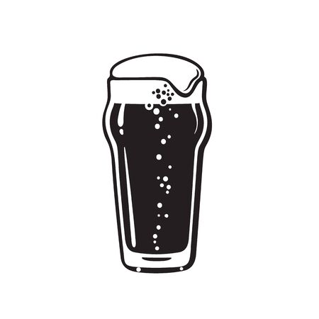 Nonic pint beer glass. Hand drawn vector illustration on white background. Çizim