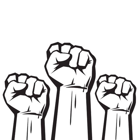 Clenched fists raised in protest. Three human hands raised in the air. Vector illustration isolated on white background.