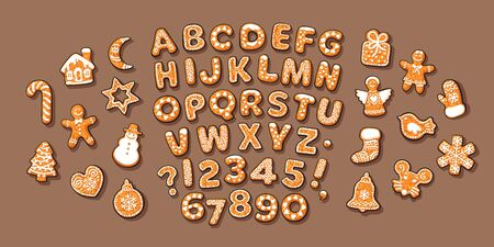 Christmas and New Year gingerbread alphabet. Cartoon vector illustration on coffee brown background