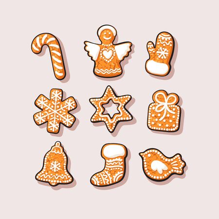 Set of Christmas and New Year gingerbread cookies. Traditional homemade sugar coated cookies 向量圖像