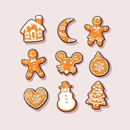 Set of Christmas and New Year gingerbread cookies. Traditional homemade sugar coated cookies.Cartoon vector illustration 向量圖像