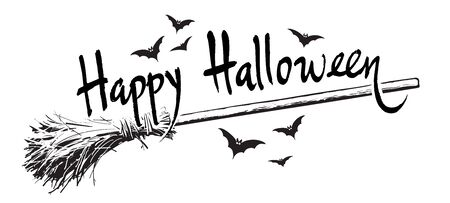 Happy halloween hand drawn lettering, old magic broomstick and flock of bats Sketch style design for Halloween 向量圖像