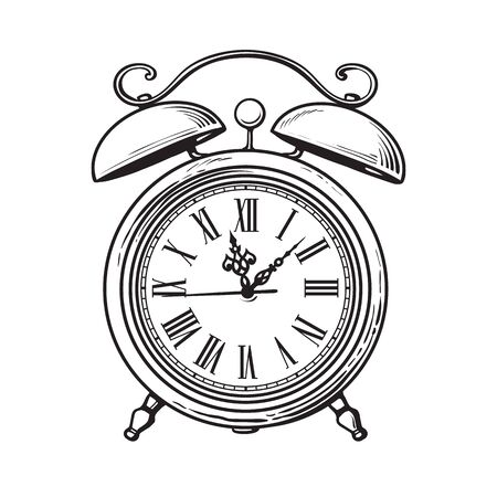 Black and white sketch of old alarm clock. Hand drawn vector illustration isolated on white background.