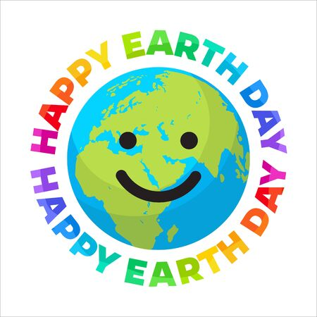 Happy Earth Day poster. Bright greeting text written around smiling cartoon globe. Happy cute funny Earth emoji. Vector illustration.