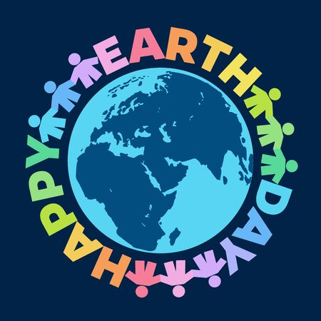 Happy Earth Day poster. Hand drawn vector illustration with greeting text around globe isolated on dark blue background. 向量圖像