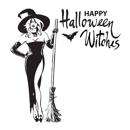 Happy halloween witches hand drawn calligraphy, beautiful sexy witch holding broomstick surrounded by bats. Sketch style design for holiday greeting card, invitations, flyers, posters, banners.