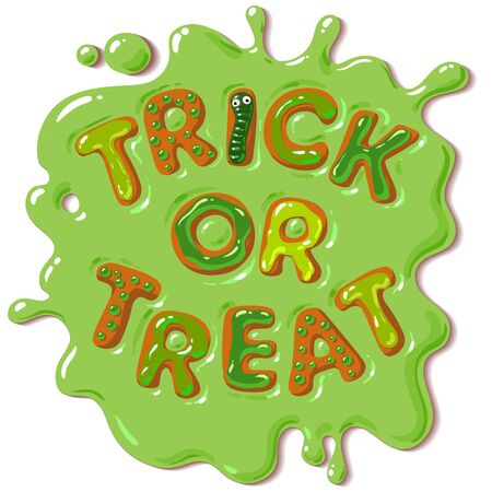 Colorful candy letters Trick or Treat in puddle of green slime. Halloween funny sweets. Cartoon hand drawn vector illustration isolated on white background. 向量圖像