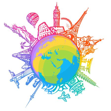 Famous world landmarks located around the globe isolated on white background. Colorful design for travel and tourism. Hand drawn vector illustration in sketch style.