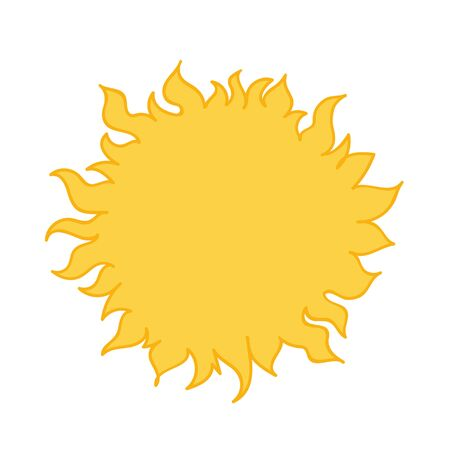 Bright yellow sun. Cartoon style hand drawn vector illustration isolated on white background.